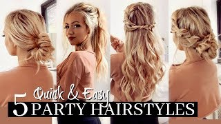 5 QUICK & EASY PARTY HAIRSTYLES / HEATLESS!