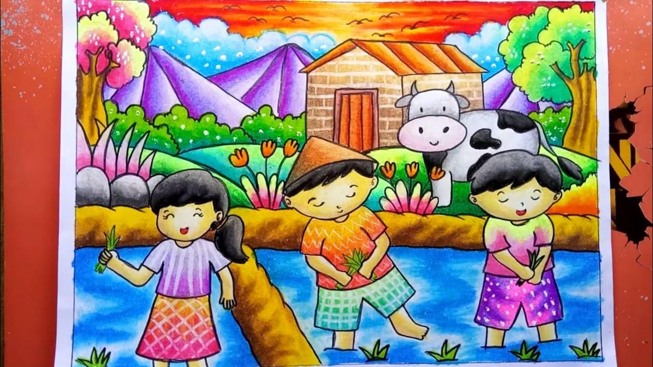 Menggambar Dan Mewarnai Pemandangan Di Sawah Drawing Nature Scenery