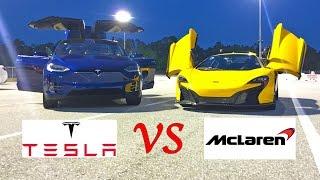 tesla model x p90d ludicrous vs mclaren 650s drag racing 1 4 mile launch control