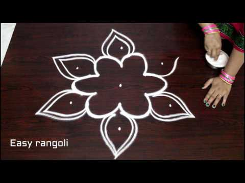 easy rangoli designs with 5x3 dots || simple kolam designs with dots || muggulu designs with dots