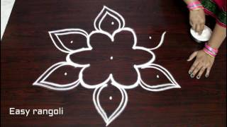 easy rangoli designs with 5x3 dots || simple kolam designs with dots || muggulu designs with dots thumbnail
