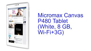 Micromax Canvas P480 Tablet White, 8 GB, Wi Fi+3G Specification [INDIA]