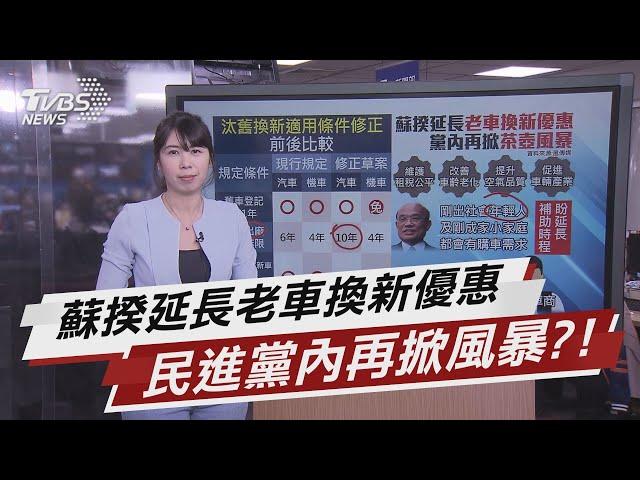 蘇揆延長老車換新優惠 民進黨內再掀風暴?!【TVBS說新聞】20210227