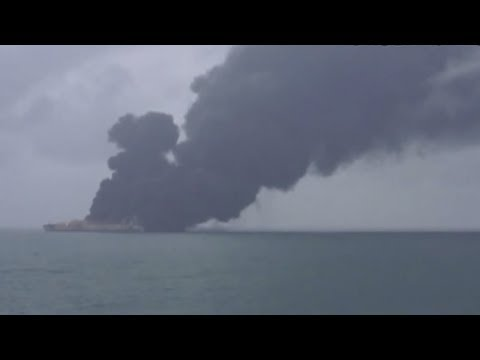 Panama-registered oil tanker in flames after collision near Shanghai