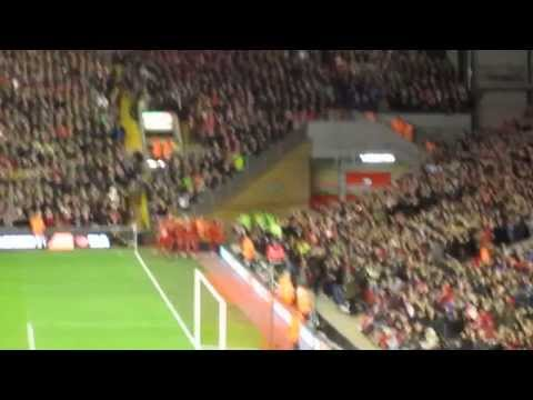 Luis Suarez free kick goal and song from the Main Stand vs. Hull City (01/01/2014)