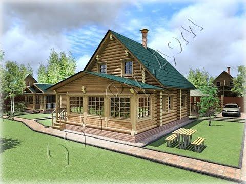 Проект частного деревянного дома из бревна с закрытой верандой Дергаево-2