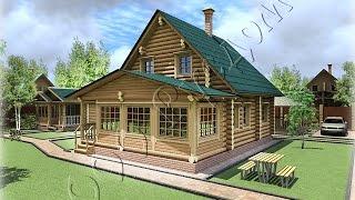 Проект частного деревянного дома из бревна с закрытой верандой
