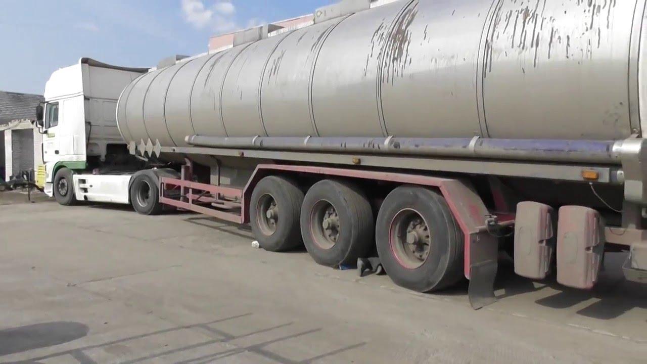 замена рессоры полуприцеп bpw на груженой машине. 38 тон груза в бочке.truck tir