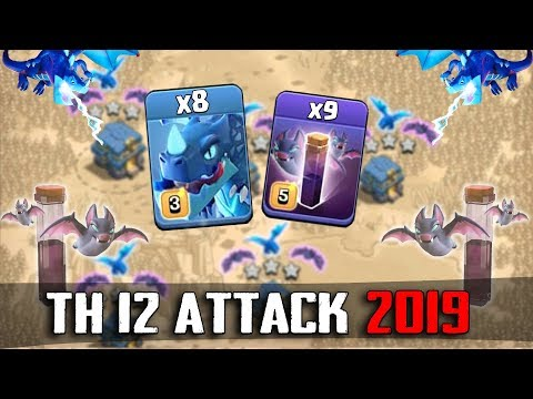 8 Electro Dragon + 9 Max Bat Spell + Stone Slammer :: TH12 ATTACK STRATEGY 2019 | Clash Of Clans