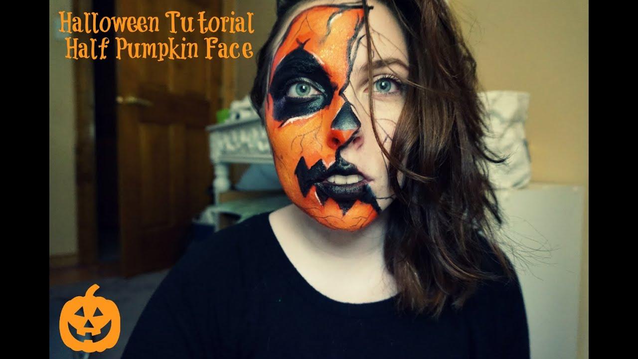 Uncategorized Pumpkin Face Makeup halloween tutorial half pumpkin face 2015 youtube 2015