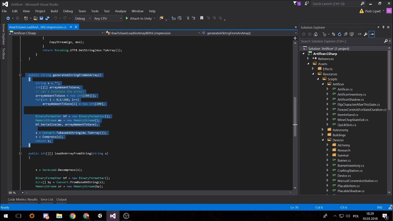 Saving and loading an array in Mono C# in Unity with