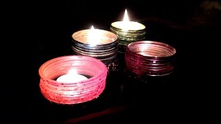 Candle Decoration idea with old Bangles (Chudi)- Decorate candle with waste materials-Tuber Tip