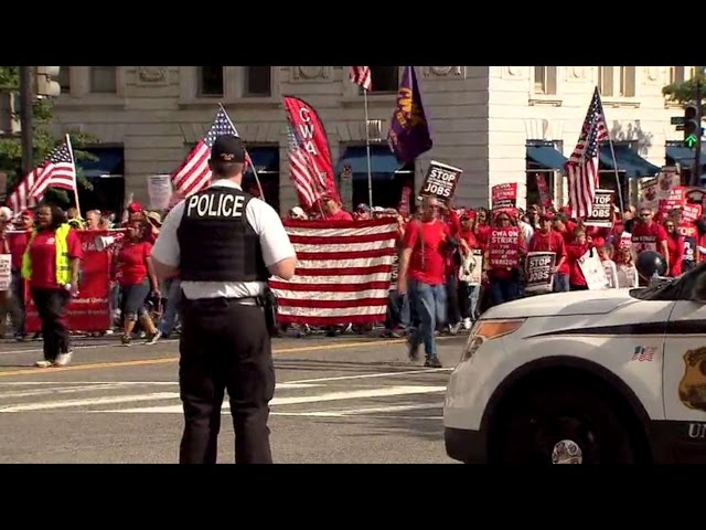 Verizon Strike: Workers stage protest outside the White House