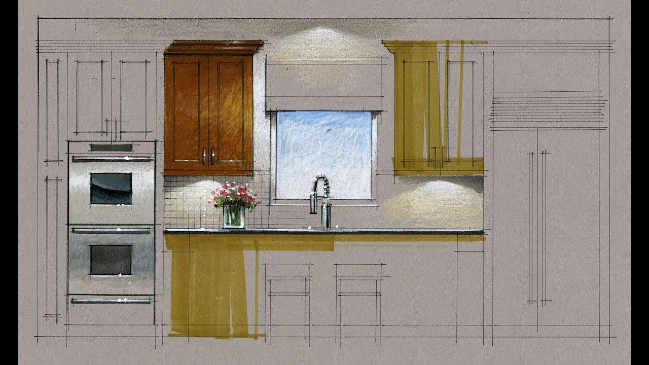 Tutorial Hand Rendering Kitchen Elevation 160223 Youtube
