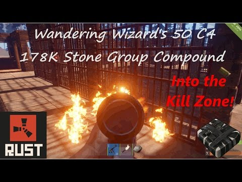 Wizard's Group Compound: 178K Stone, 17K Metal, 50 C4 Rust Base (With State Of The Art Kill Zone)