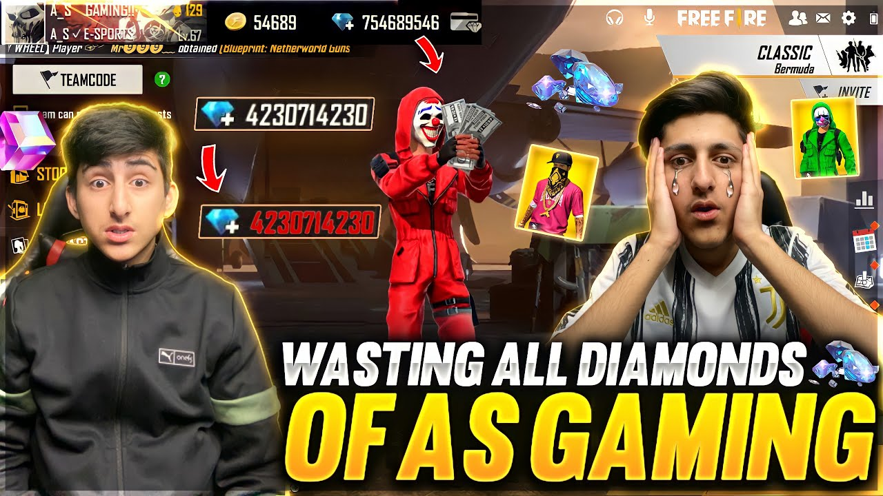 Wasting All Diamonds💎Of As Gaming By Real Brother😂Crying Moment 10,000 Diamond - Garena Free Fire