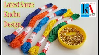 making of saree tassels/kuchu with cotton tassels using beads at home || latest saree kuchu design
