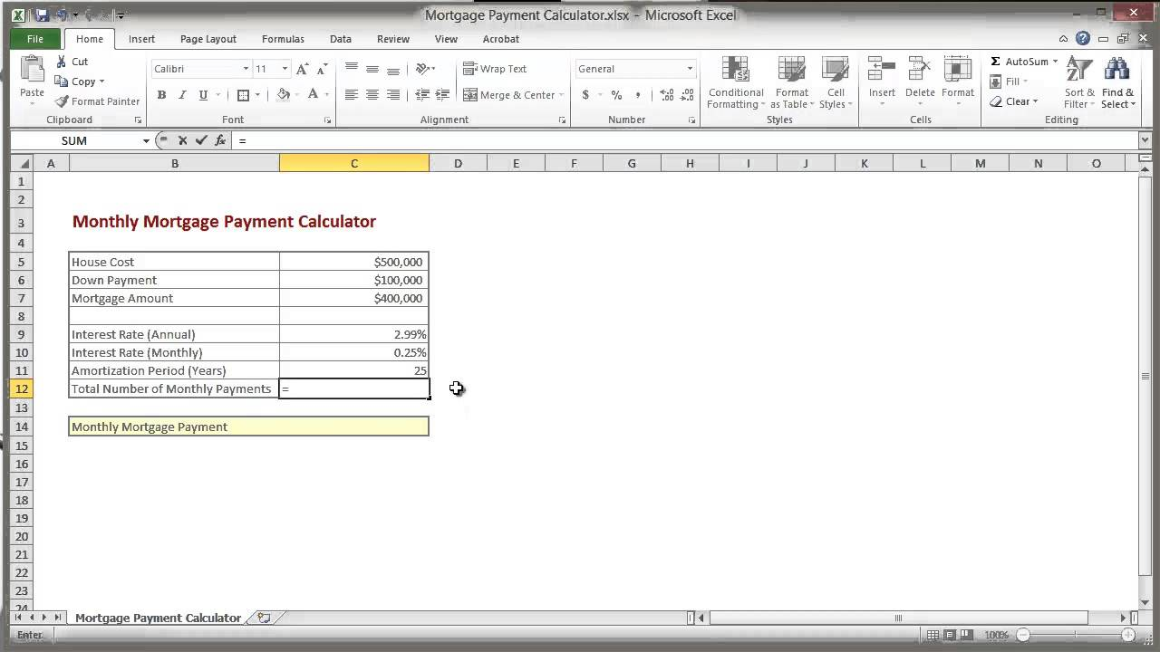 how to calculate a mortgage payment in excel