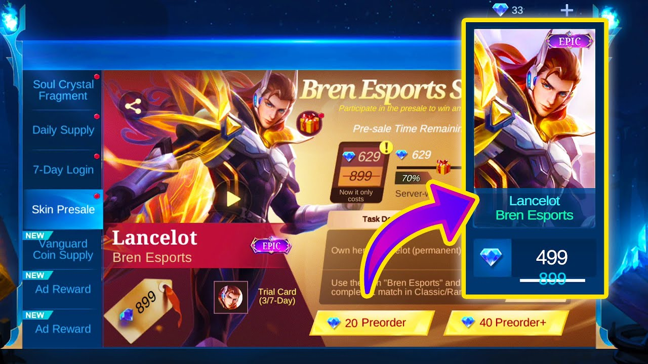 HOW TO GET LANCELOT BREN ESPORTS EPIC SKIN AT THE PRICE OF AN ELITE SKIN | MOBILE LEGENDS BANG BANG