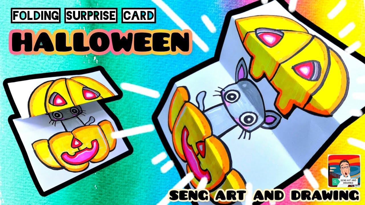 HALLOWEEN FOLDING SURPRISE CARD 🎃 万圣节创意卡 🎃 Kad Kreative Halloween