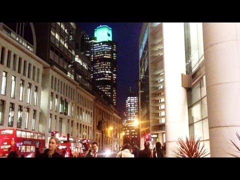 London Beautiful City Lights (Heron Tower, Lombard Street, Bishopsgate, Bank, The Shard)