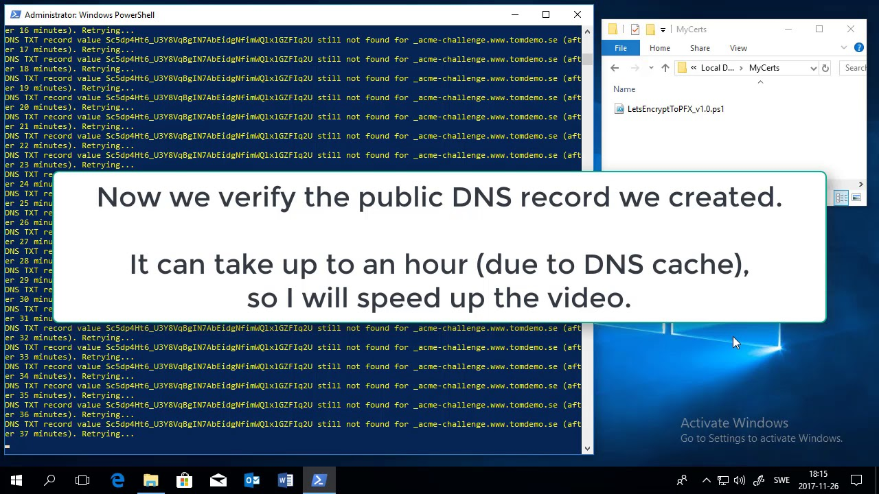 Free Ssl Certificate With Powershell Dns And Lets Encrypt Youtube