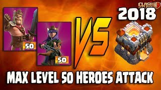 Clash of Clans👉MAX LEVEL 50 HEROES ATTACK💪QUEEN WALK WITH MINERING TESTING ON MAX TH111👌LEARN IT
