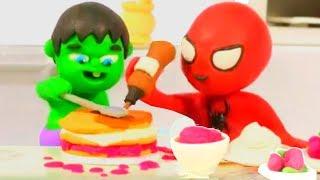 SUPERHERO BABIES MAKING A BIRTHDAY CAKE ❤ Spiderman, Hulk & Frozen Play Doh Cartoons For Kids