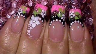 black pink floral french manicure nail art design tutorial