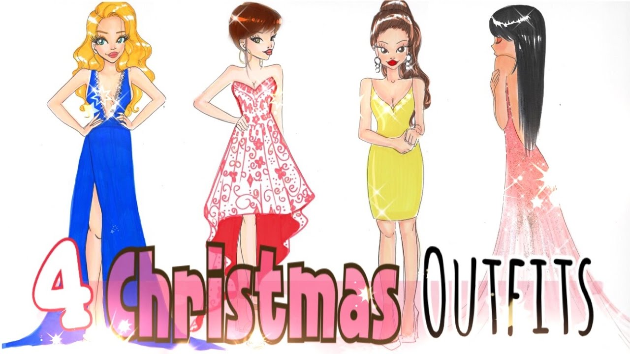 how to draw 4 christmas outfits youtube