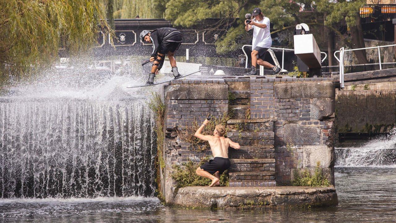 Wakeboarding on Camden Lock in London!