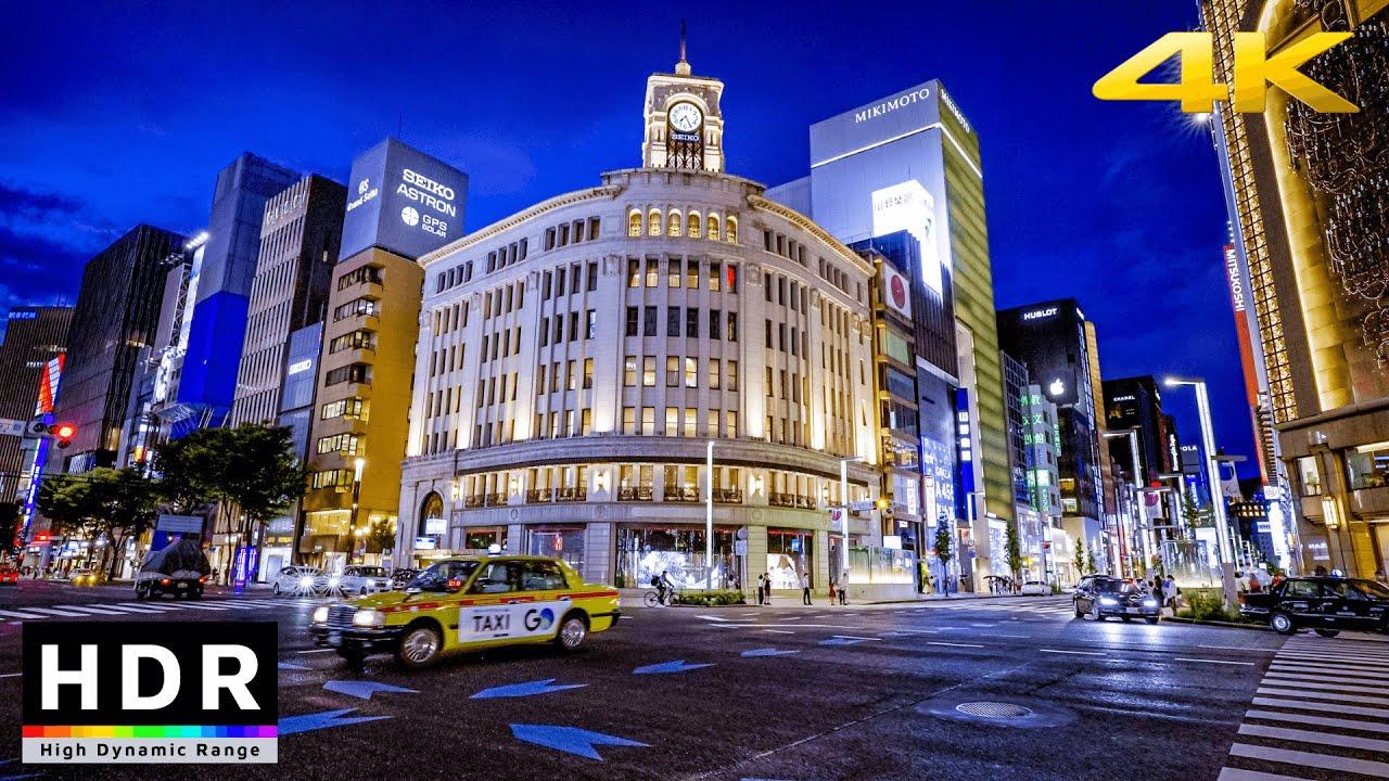【4K HDR】Ginza after the rain, night walk
