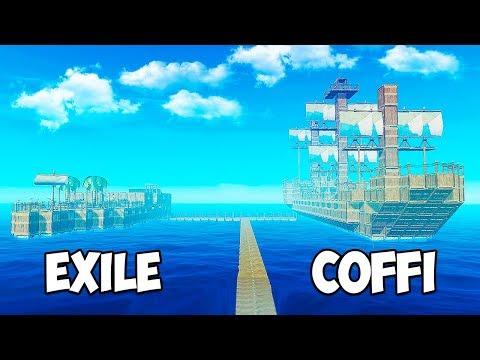 СТРОИМ ГИГАНТСКОЕ СУДНО! БИТВА ПОСТРОЕК - COFFI VS EXILE! КАК СДЕЛАТЬ ПИРАТСКИЙ КОРАБЛЬ В RAFT