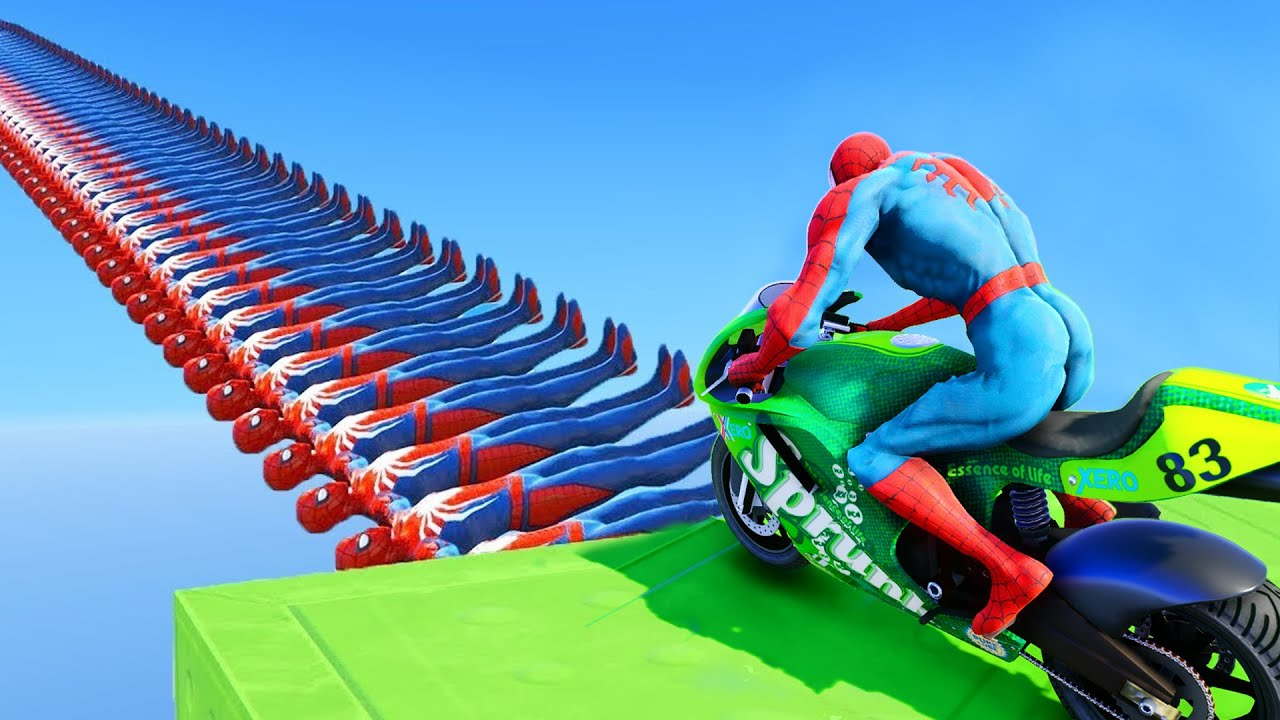 SPIDERMAN WIPEOUT OBSTACLES W/ Superheroes Motos Challenge Funny Contest - GTA 5