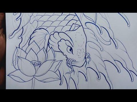How To Draw A Koi Fish Tattoo Modren-kio Fish Drawing Tattoo
