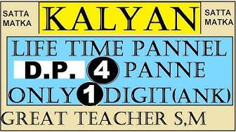 Satta Matka Kalyan D.P.Wining Idea 1 Digit & 4 Pannels Guide By Great Teacher S.M