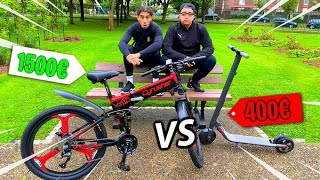 MOTO CROSS VELO  VS TROTINETTE ELECTRIQUE ! CRASH TEST ET COURSE 🚲 VÉLO CYRUSHER