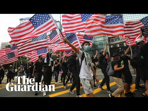 Hong Kong protesters march to US consulate to call on Trump for support