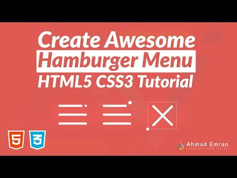 Awesome CSS Hamburger Menu - HTML5 CSS3 Tutorial thumbnail