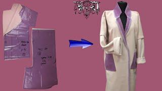 Шьём пальто-халат без подкладки из остатков ткани за час   Шитье для начинающих