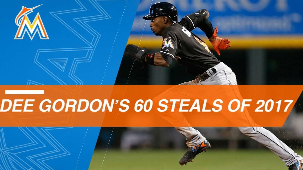 c6ba52a687a Watch all 60 of Dee Gordon's stolen bases in 2017 - YouTube