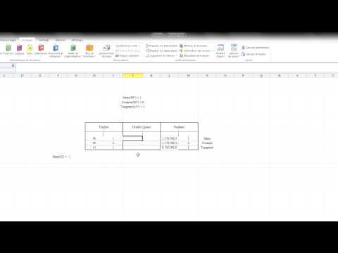 Microsoft Excel : Formules trigonométriques