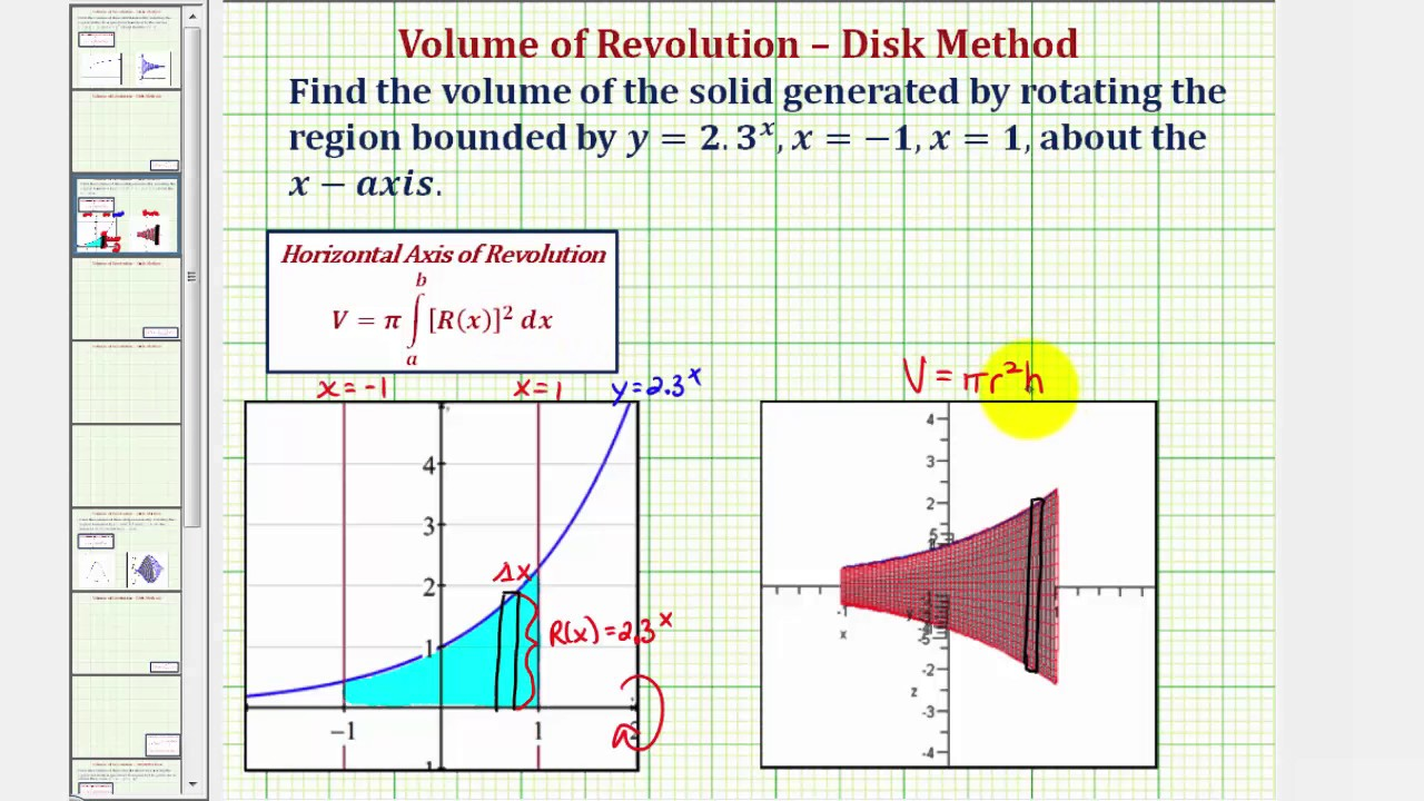 Ex 3: Volume Of Revolution Using The Disk Method (exponential Function)