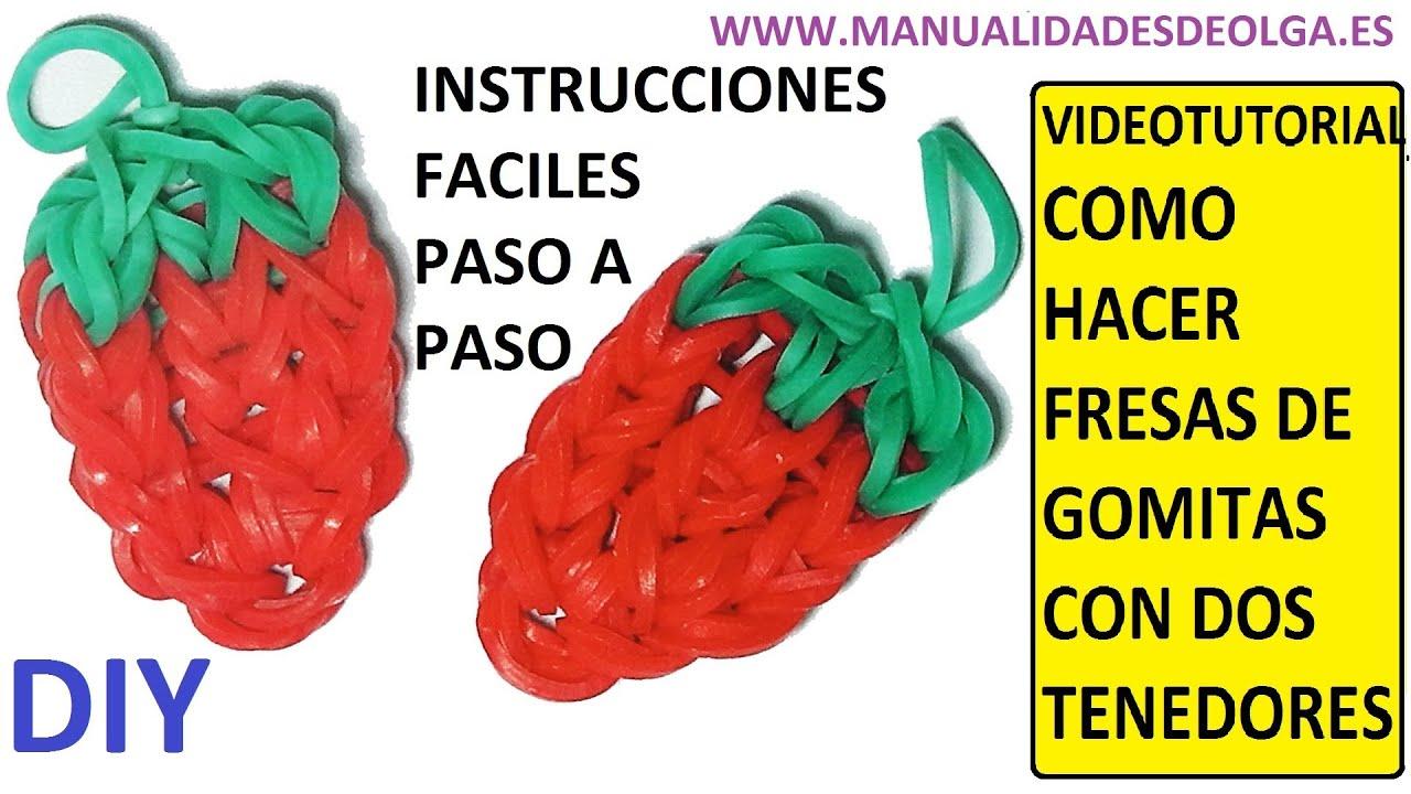 COMO HACER UNA FRESA DE GOMITAS (LIGAS) CHARMS CON DOS TENEDORES ...