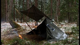 3 DAYS ALL WEAṪHER BUSHCRAFT TRIP - Snow, Rain, Hail, High Winds, Solo Wild Camping in Lavvu Poncho