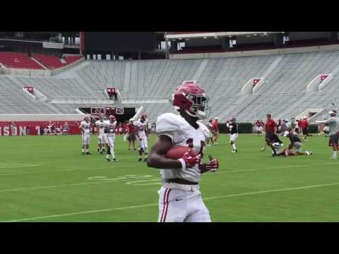 Alabama QBs throwing to wide receivers prior to the 1st scrimmage inside Bryant-Denny Stadium