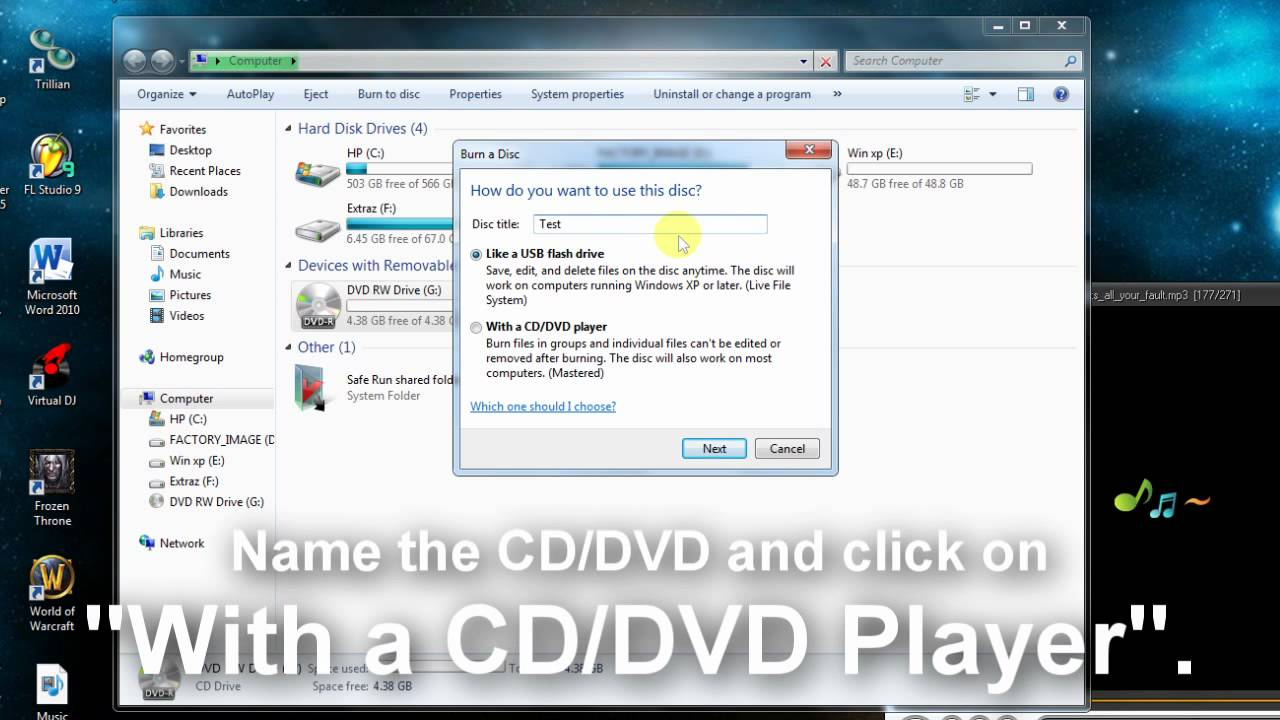 How to burn a CD/DVD on Windows 7 without any programs! - YouTube