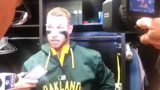 Repeat youtube video Oakland's Brett Lawrie on Royals' Kelvin Herrera throwing at him