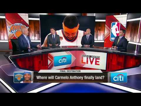 Where will Carmelo Anthony eventually be traded?