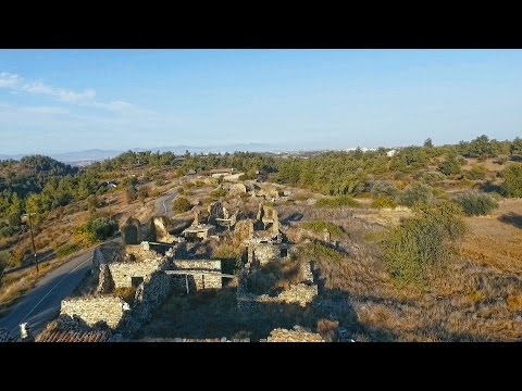 Filani, abandoned and deserted settlement, Nicosia, Cyprus (Cyprus aerial video)